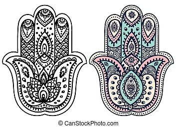 Vector Indian hand drawn hamsa with ornaments - Vector...