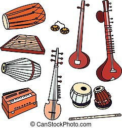 Vector indian instruments