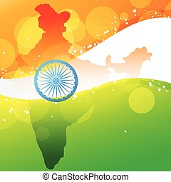 vector indian map with flag design