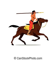 Vector Indian on horseback Cartoon Illustration. - Rider...