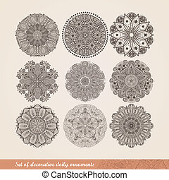 Vector Indian ornament, kaleidoscopic floral pattern, mandala. Set of nine ornament lace. ornamental round lace pattern, circle background with many details, looks like crocheting handmade lace