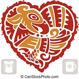 Vector Indian pattern of bird in the shape of heart