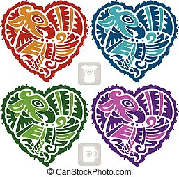 Vector Indian pattern set in the shape of heart