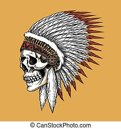 Vector indian skull. Feather and tribal, bone and skeleton,...