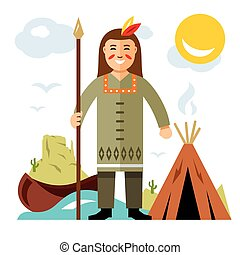 Vector Indian with a spear. Flat style colorful Cartoon illustration.