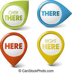 vector, indicador, aquí, redondo, allí, 3d, /