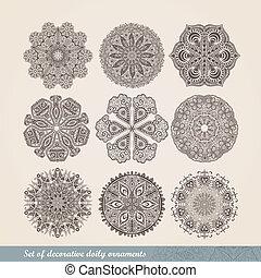 vector, indio, ornamento, caleidoscópico, patrón floral, mandala., conjunto, de, nueve, ornamento, lace., ornamental, redondo, encaje, patrón, círculo, plano de fondo, con, muchos, detalles, miradas, como, crocheting, hechaa mano, encaje