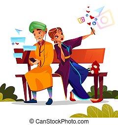 vector, indio, smartphones, fechando, pareja, ilustración