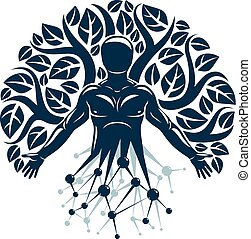 Vector individual, mystic character made with wireframe mesh connections and eco tree leaves. Human, science and ecology interaction, technology and nature balance.