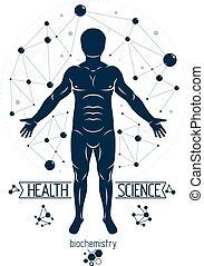 vector, individualiteit, grafisch, wetenschappelijk, gecreëerde, biochemie, wireframe, illustratie, research., menselijk, connections., maas