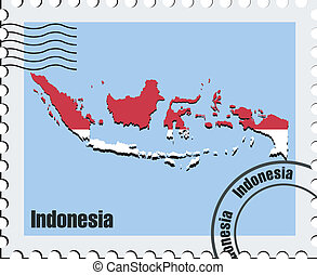 vector, indonesia, estampilla