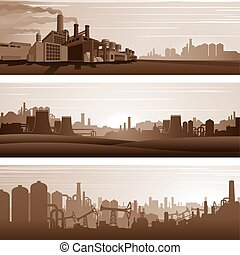 Vector Industrial Backgrounds, Urban Landscapes