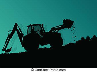vector, industrial, cavar, excavador, trabajadores, sitio, ilustración, cargador, máquina, construcción, hidráulico, plano de fondo, tractor
