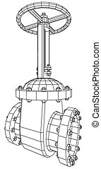 Vector industrial equipment oil and gas valve. EPS 10. Tracing illustration of 3d