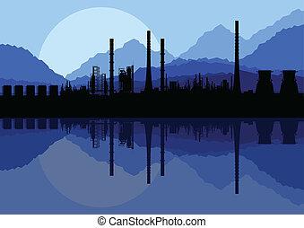 vector, industrial, fábrica, ilustración, refinería, aceite, colección, plano de fondo, paisaje
