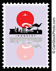 vector industrial landscape on postage stamps