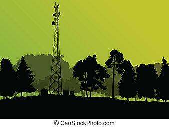 vector, industrial, teléfono móvil, concepto, radio, plano de fondo, estación, torre, base, telecomunicaciones, ingenieros