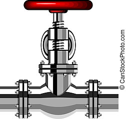 vector industrial valve chrome red