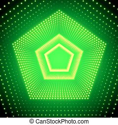 Vector infinite pentagonal tunnel of shining flares on green background. Glowing points form tunnel sectors. Abstract cyber colorful background for your designs. Elegant modern geometric wallpaper.