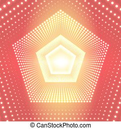 Vector infinite pentagonal tunnel of shining flares on orange background. Glowing points form tunnel sectors. Abstract cyber colorful background for your designs. Elegant modern geometric wallpaper.