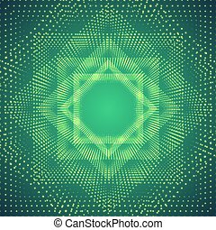 Vector infinite polygonal tunnel of shining flares on green background. Glowing points form tunnel sectors. Abstract cyber colorful background for your designs. Elegant modern geometric wallpaper.