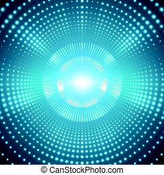 Vector infinite round tunnel of shining flares on blue background. Glowing points form tunnel sectors. Abstract cyber colorful background for your designs. Elegant modern geometric wallpaper.