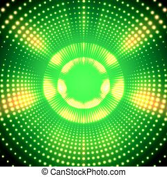 Vector infinite round tunnel of shining flares on green background. Glowing points form tunnel sectors. Abstract cyber colorful background for your designs. Elegant modern geometric wallpaper.
