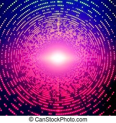 Vector infinite round tunnel of shining flares on violet background. Glowing points form tunnel sectors. Abstract cyber colorful noise background for your designs. Elegant modern geometric wallpaper.