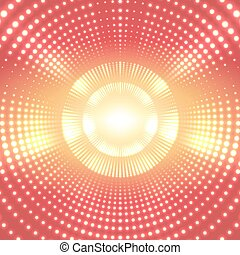 Vector infinite round tunnel of shining flares on yellow background. Glowing points form tunnel sectors. Abstract cyber colorful background for your designs. Elegant modern geometric wallpaper.