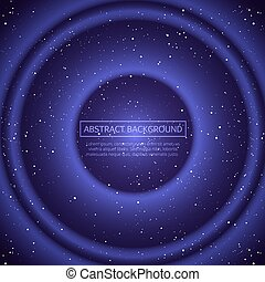 Vector infinite space background. Matrix of glowing stars with illusion of depth and perspective. Abstract futuristic universe on dark blue background. Vector illustration