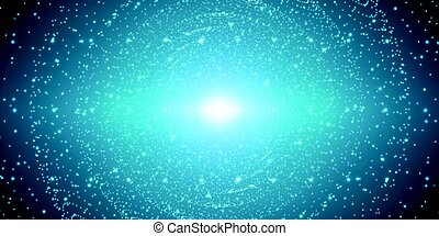 Vector infinite space background. Matrix of glowing stars with illusion of depth and perspective. Sparkling stars of nebula. Abstract futuristic hyperspace universe on light blue background.