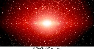 Vector infinite space background. Matrix of glowing stars with illusion of depth and perspective. Sparkling stars of nebula. Abstract futuristic hyperspace universe on dark red background.