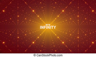 Vector infinite space background. Matrix of glowing stars with illusion of depth, perspective. Geometric backdrop with point array as lattice. Abstract futuristic universe on orange background.