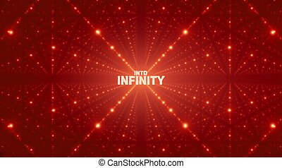 Vector infinite space background. Matrix of glowing stars with illusion of depth, perspective. Geometric backdrop with point array as lattice. Abstract futuristic universe on red background.