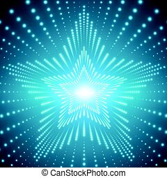 Vector infinite star tunnel of shining flares on blue background. Glowing points form tunnel sectors. Abstract cyber colorful background for your designs. Elegant modern geometric wallpaper.