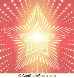 Vector infinite star tunnel of shining flares on orange background. Glowing points form tunnel sectors. Abstract cyber colorful background for your designs. Elegant modern geometric wallpaper.