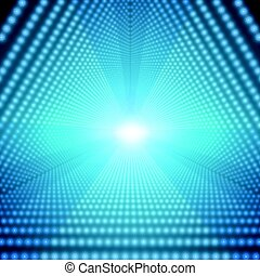 Vector infinite triangular tunnel of shining flares on blue background. Glowing points form tunnel sectors. Abstract cyber colorful background for your designs. Elegant modern geometric wallpaper.