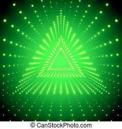 Vector infinite triangular tunnel of shining flares on green background. Glowing points form tunnel sectors. Abstract cyber colorful background for your designs. Elegant modern geometric wallpaper.