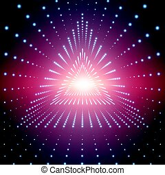 Vector infinite triangular tunnel of shining flares on red background. Glowing points form tunnel sectors. Abstract cyber colorful background for your designs. Elegant modern geometric wallpaper.