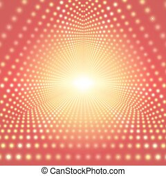 Vector infinite triangular tunnel of shining flares on yellow background. Glowing points form tunnel sectors. Abstract cyber colorful background for your designs. Elegant modern geometric wallpaper.