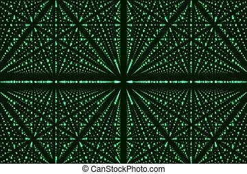 Vector infinity data matrix visualization. Green big data...