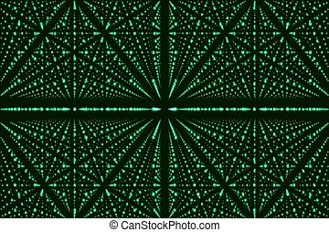 Vector infinity data matrix visualization. Green big data structure with binary numbers lattice. Information code array representation. Cryptographic analysis. Bitcoin blockchain transfer.