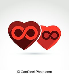 Vector infinity icon. Illustration of an eternity symbol placed on a red heart - love forever concept. Two Valentine hearts connected – marriage idea.