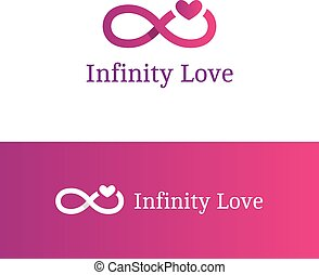 Vector infinity sign with heart logotype. Modern romantic...