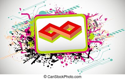 vector infinity symbol in a frame on color art background