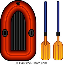 vector inflatable boat with paddles