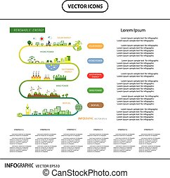 info chart renewable energy bio green ecology - vector info...