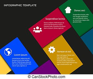 Vector Info graphic Template with Color Rectangles with place for your content
