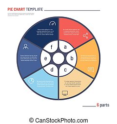 Vector infographic circle chart template. Six parts
