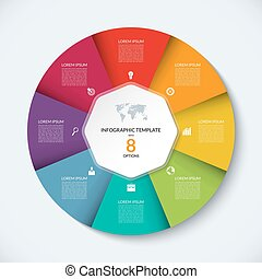 Vector infographic circle template. Business concept with 8...